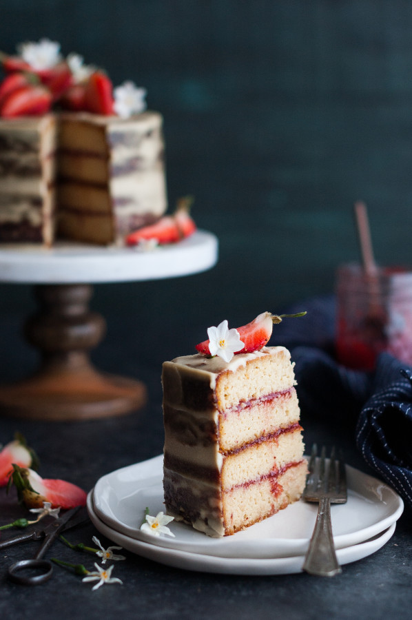 Strawberry Vanilla Almond Cream Cake {gluten, dairy, refined sugar free}