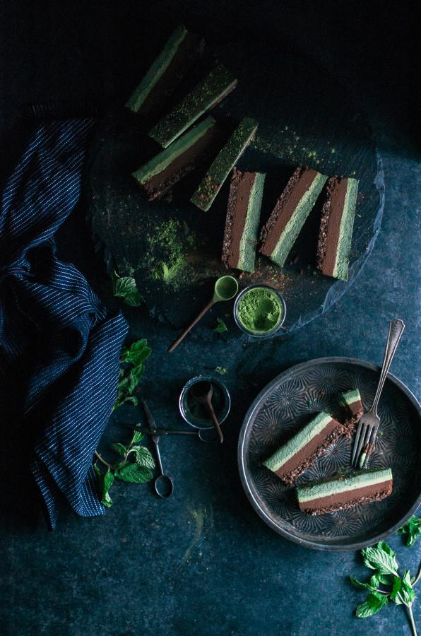 Chocolate Superfood Matcha Mint Slice (raw, vegan, gluten dairy & refined sugar free)