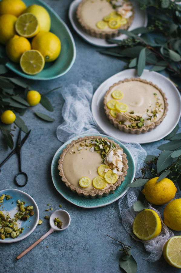 Raw Meyer Lemon Cream Tarts