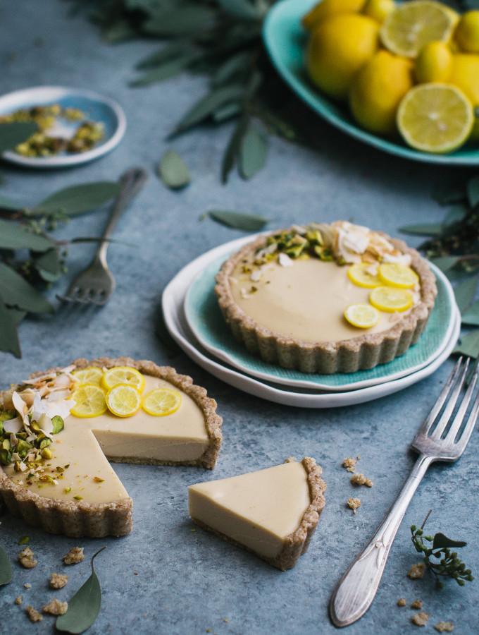 Raw Meyer Lemon Cream Tarts