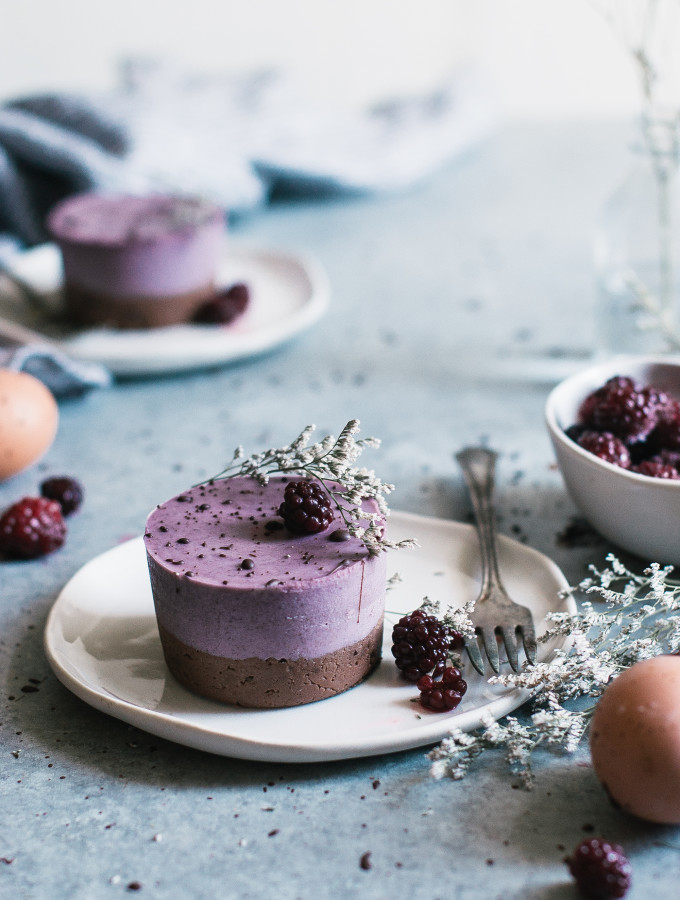 Speckled Brownie Bottomed Blackberry Mousse Cakes