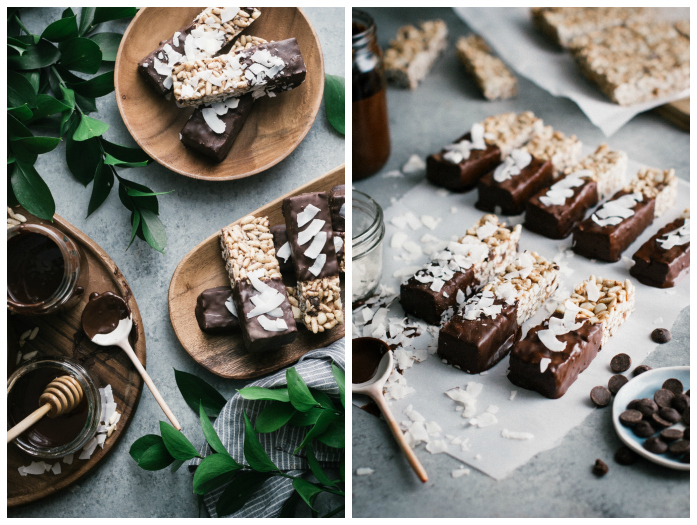 Chocolate Chunk Coconut Chia Macadamia Crunch Bars