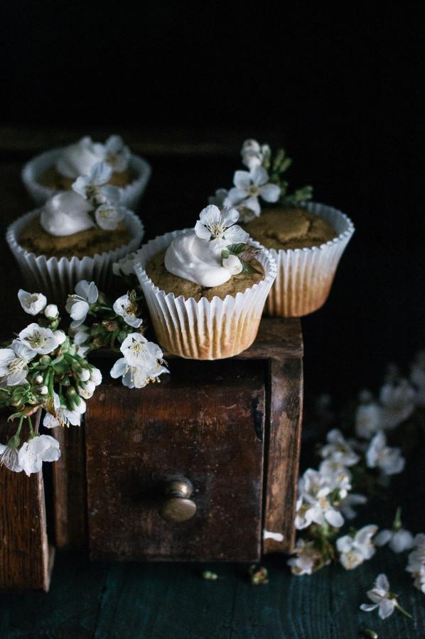 Banana Flax Muffins with Honeyed Coconut Cream