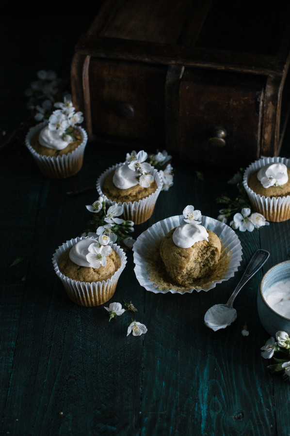 Banana Flax Muffins with Honeyed Coconut Cream