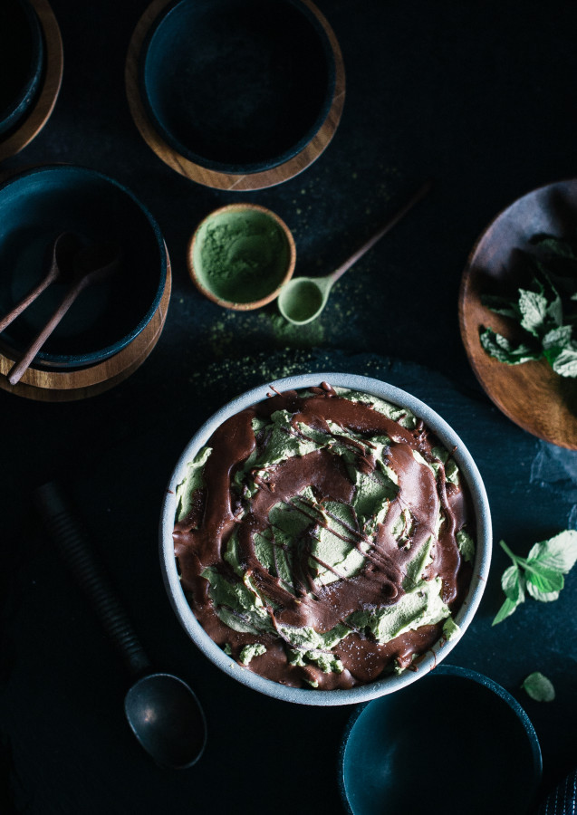 Matcha Avocado Mint Chocolate Mousse Swirl Ice Cream