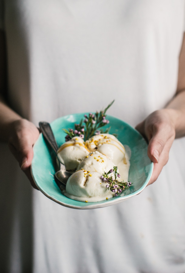 Salted Honey Chamomile Frozen Yogurt with Bee Pollen