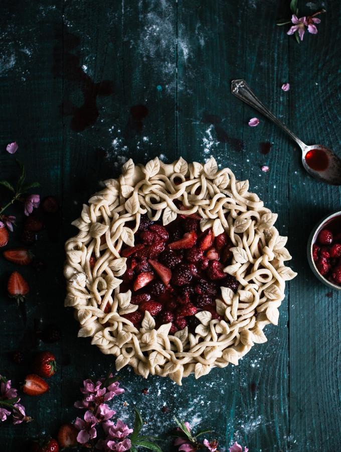 Triple Berry Pie with a Leaf & Vine Crust