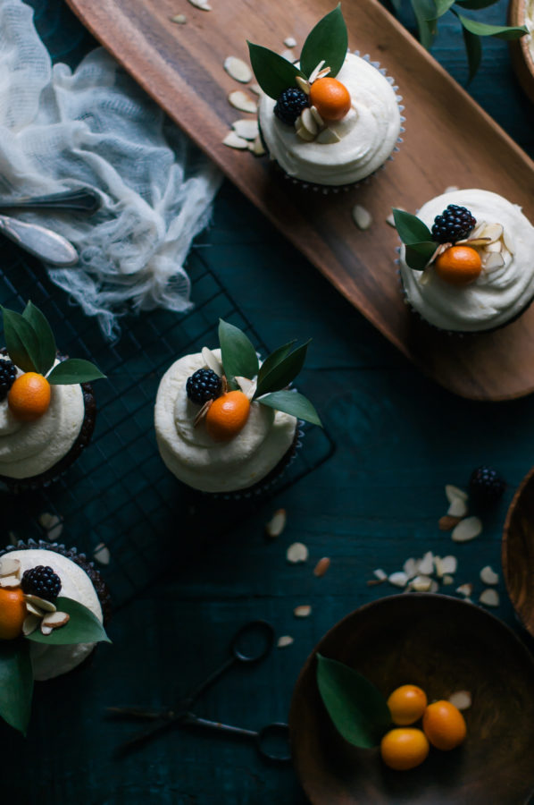 Chocolate & Earl Gray Cupcakes with Kumquat Italian Meringue Buttercream