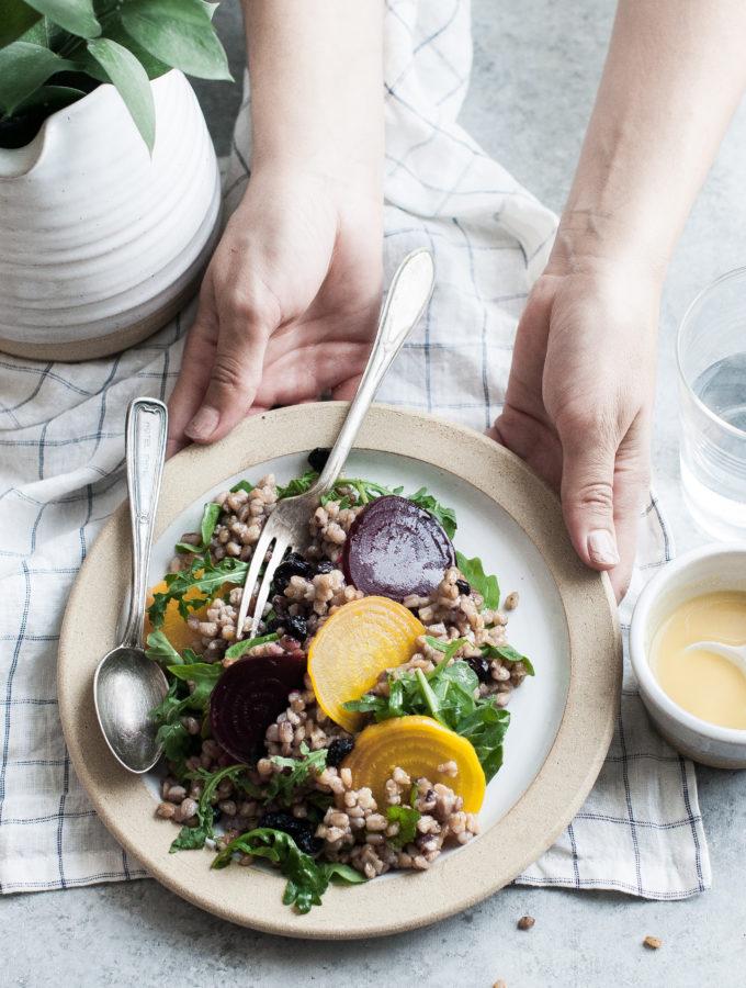 Roasted Beet & Farro Salad with Arugula & Blueberries