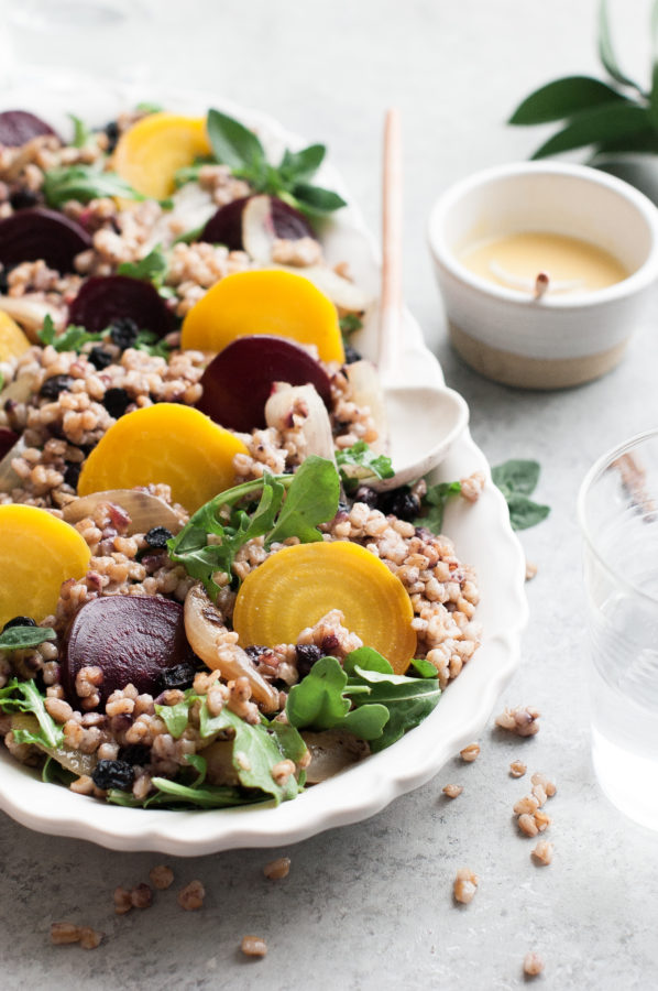 Roasted Beet & Farro Salad with Arugula & Blueberries - The Kitchen ...