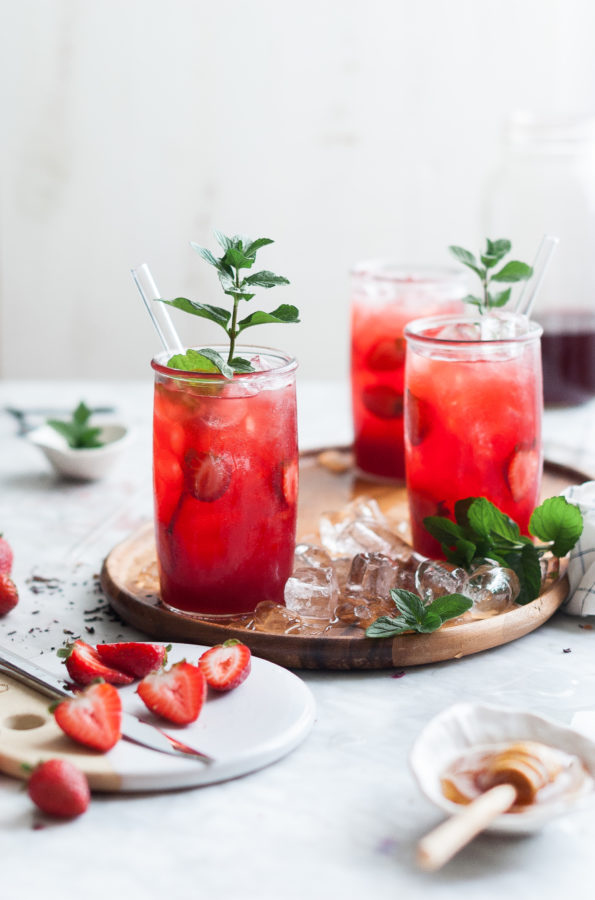 Strawberry Mint & Hibiscus Iced Tea