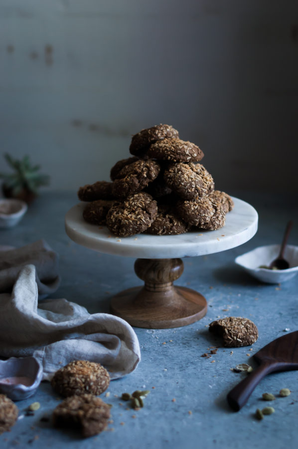 Toasted Coconut Cardamom & Chocolate Crinkle Cookies
