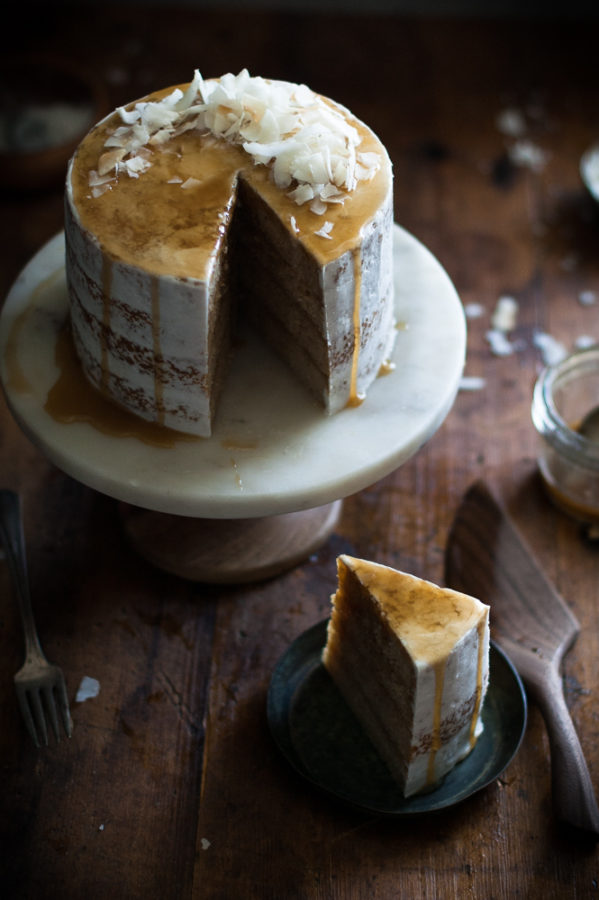 Caramel Soaked Coconut Tres Leches Layer Cake