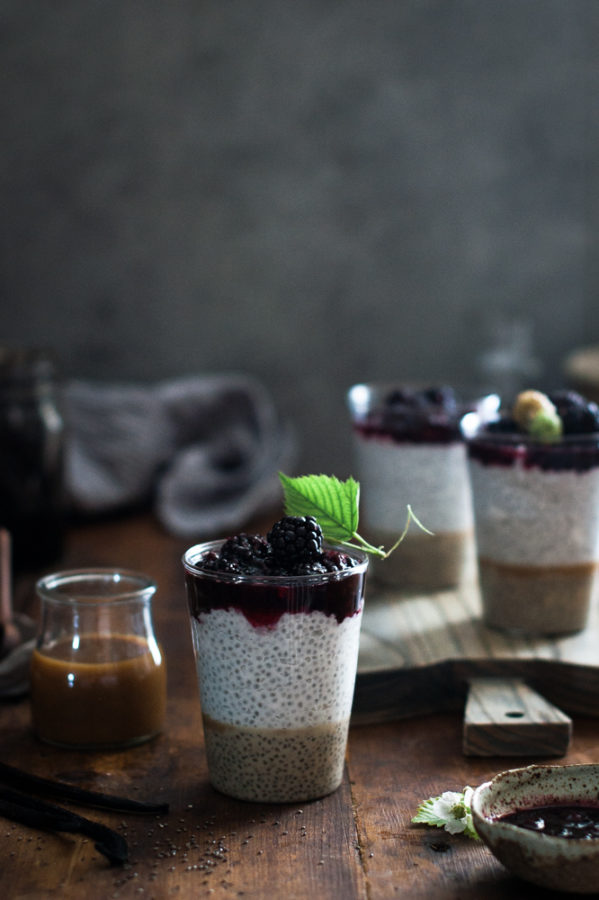 Coconut Chia Salted Caramel Puddings + Smashed Blackberries