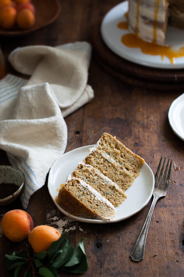Zucchini Browned Butter Oat Cake + Apricot Caramel