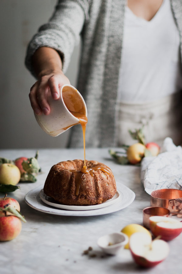 Cardamom Spiced Whole Wheat Apple Cake + Honey Caramel