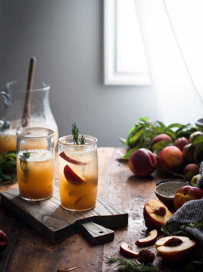 Nectarine + Rosemary & Honey Shrub Fizz
