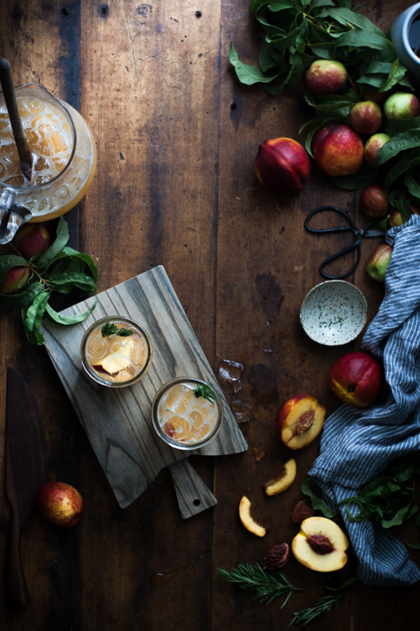 Nectarine + Rosemary & Honey Shrub Fizz
