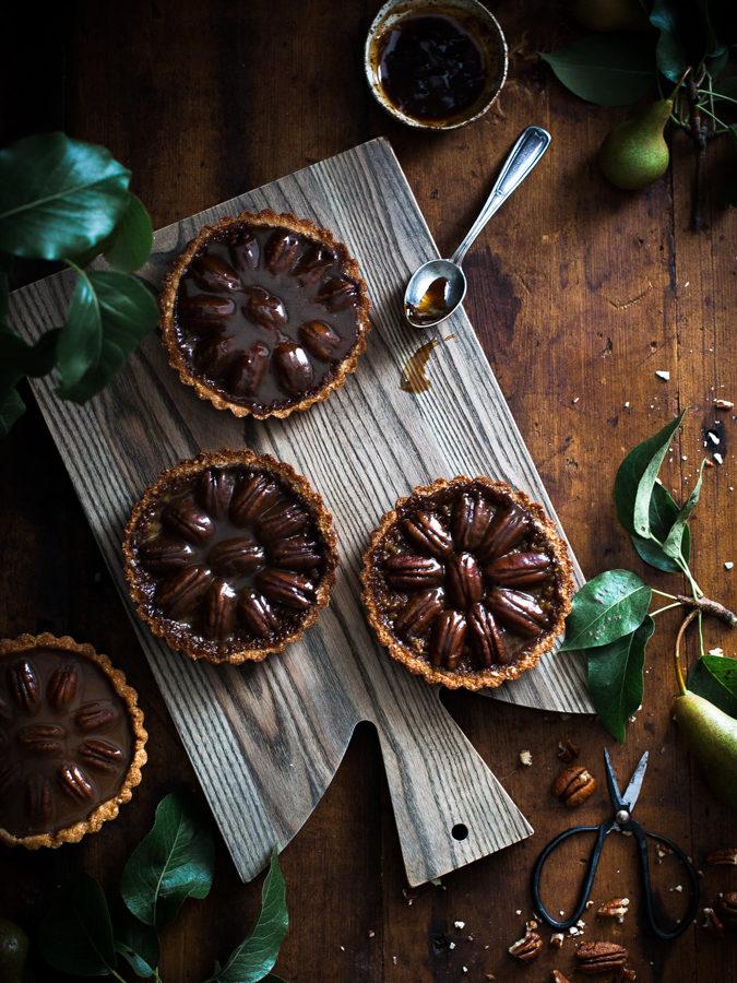 Pecan + Chocolate & Caramel Coconut Shortbread Tarts