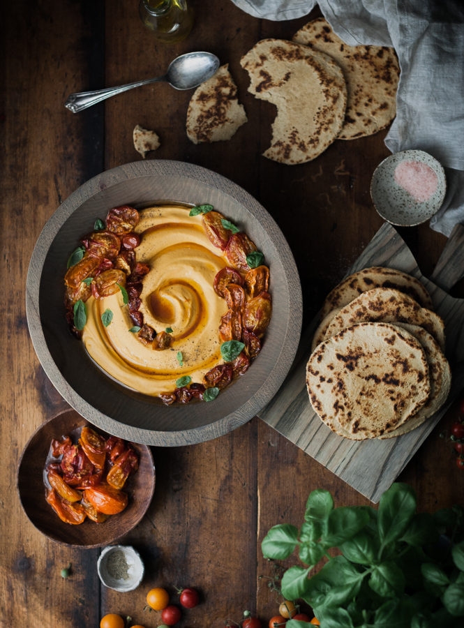 Slow-roasted Tomato & Basil Hummus + Quick Whole Wheat Yogurt Flatbreads