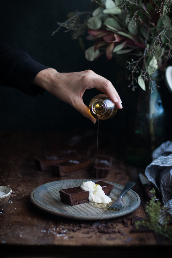 Chocolate Earl Grey Truffle Tart + Sea Salt & Olive Oil
