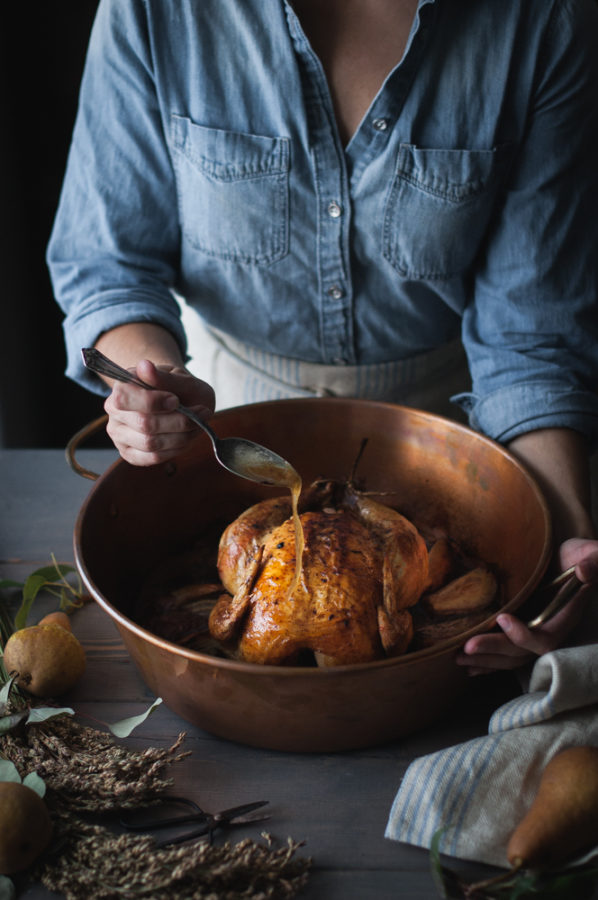 Pear & Vanilla Bean-Brown Butter Roast Chicken
