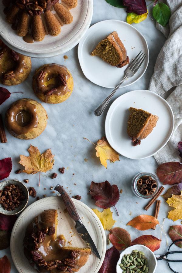 Pumpkin Butter Cake + Maple Bourbon Caramel & Candied Pecans
