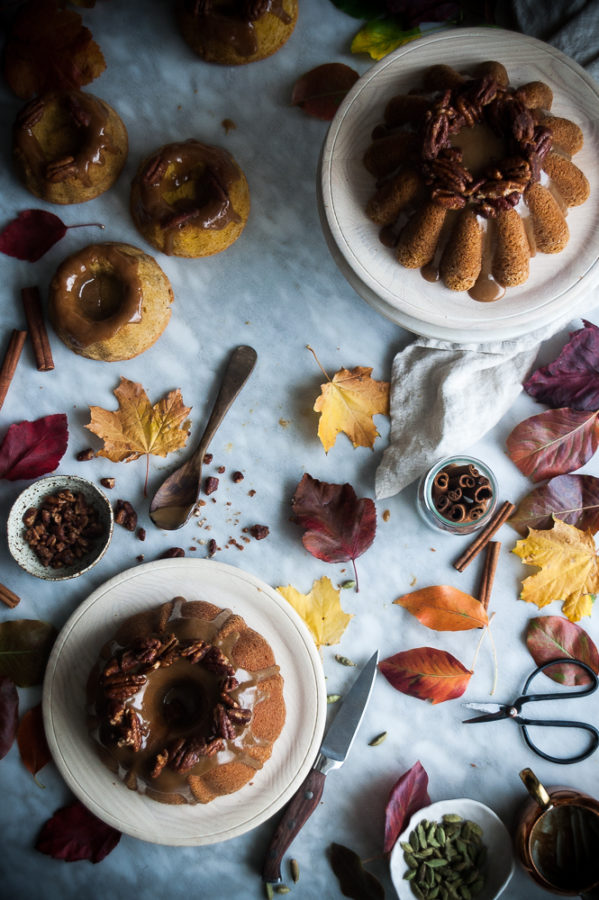 Pumpkin Butter Cake + Maple Bourbon Caramel & Candied Pecans
