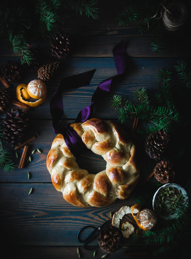 Orange, Vanilla & Cardamom Challah Wreath + White Chocolate Glaze