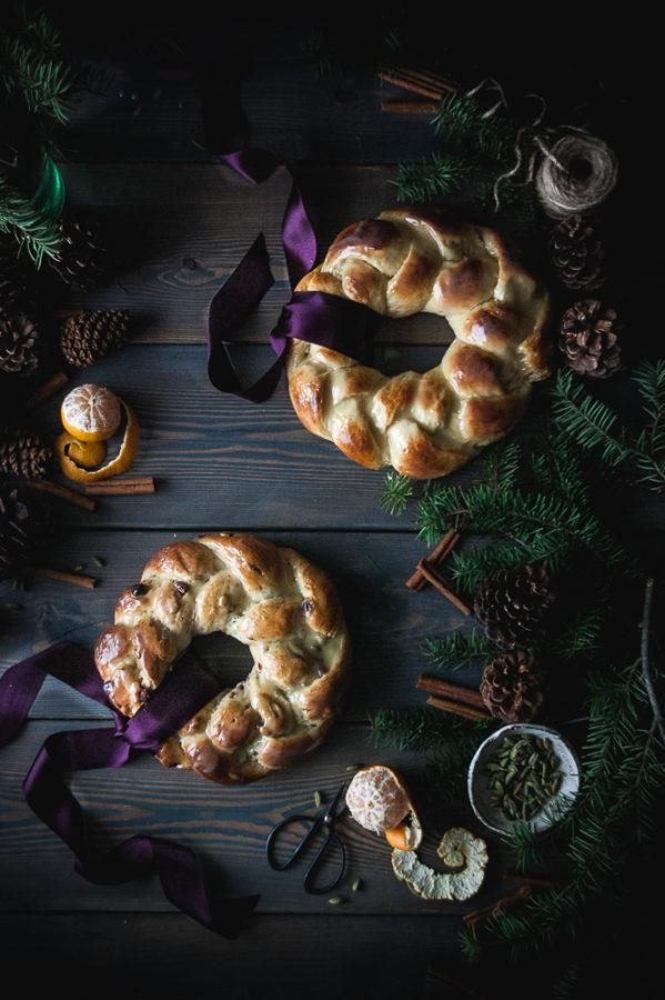 Orange, Vanilla & Cardamom Challah Wreath + White Chocolate Glaze