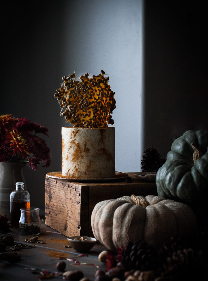 Pumpkin Layer Cake + Egg Nog German Buttercream & Pumpkin Seed Brittle