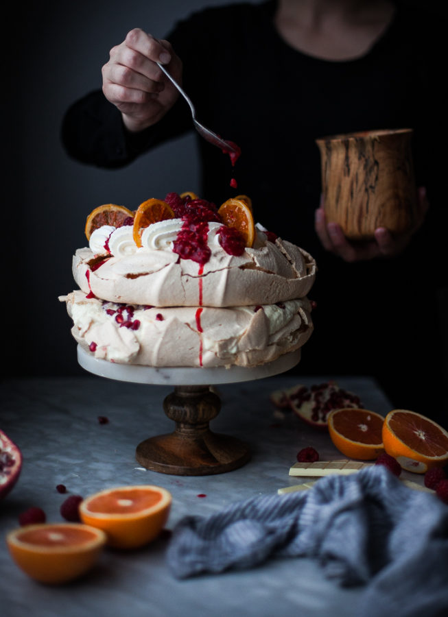 White Chocolate, Raspberry & Pomegranate Pavlova