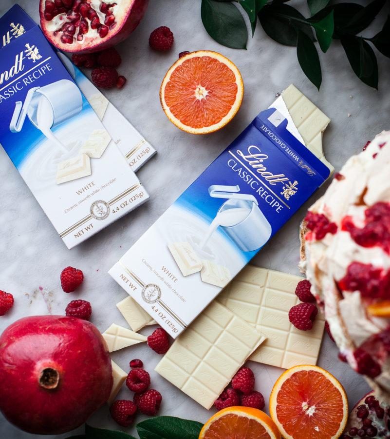 White Chocolate, Raspberry & Pomegranate Pavlova