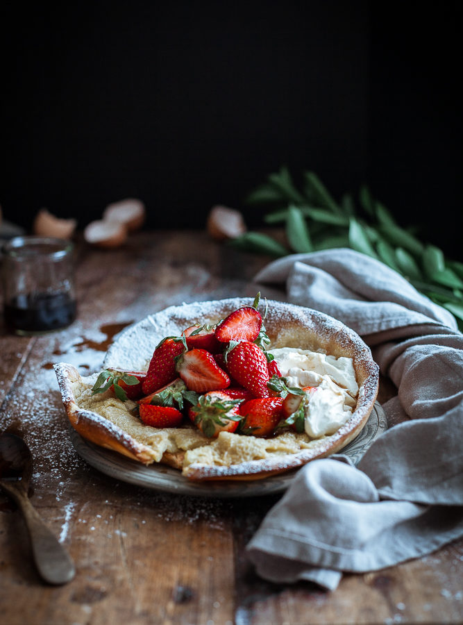 Dutch Baby + Balsamic Maple Berries & Whipped Chevre Cream (GF)