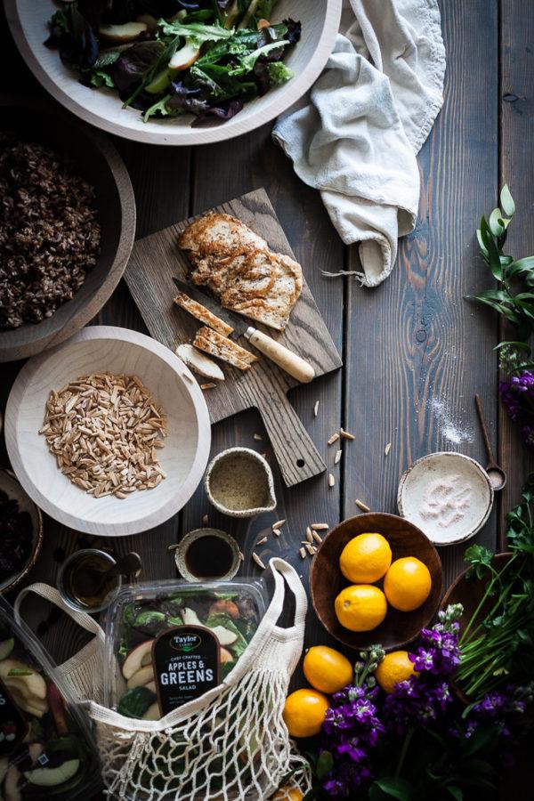 Chopped Chicken Wild Rice Salad + Balsamic Lemon Cilantro Dressing
