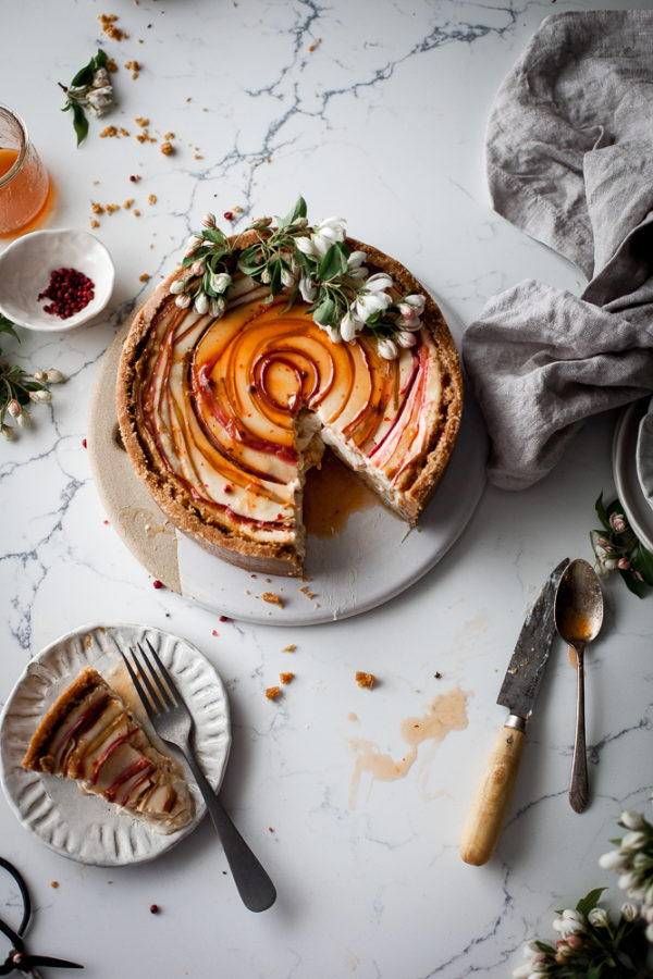 Chevre Cheesecake + Pink Peppercorn, Orange, & Rhubarb