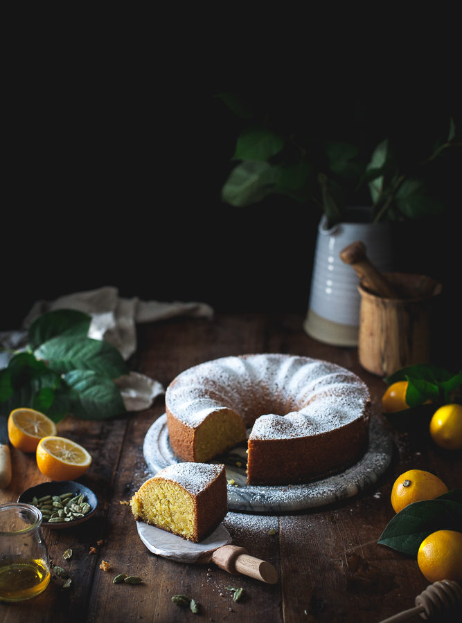Lemon & Cardamom Polenta Cake