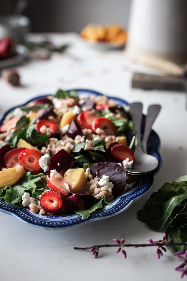 Roasted Beet & Strawberry Salad + White Balsamic Rhubarb Pink Peppercorn Dressing