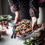 Roasted Beet & Strawberry Salad + White Balsamic Rhubarb Pink Peppercorn Dressing