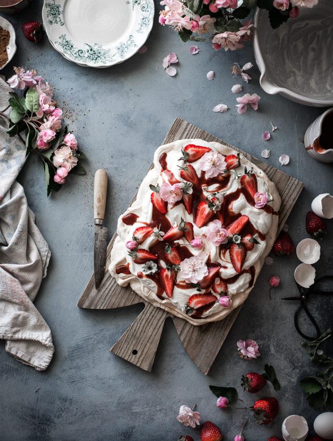 Rosewater Cream Pavlova + Roasted Strawberry Vanilla Bean Sauce