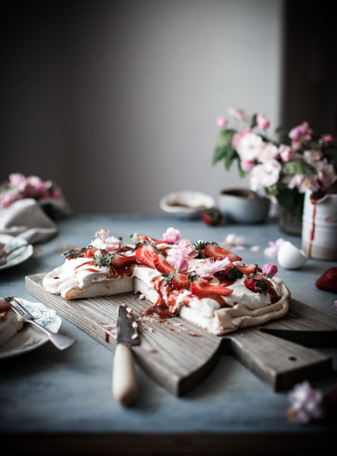 Rosewater Cream Pavlova + Roasted Strawberry Vanilla Bean Sauce