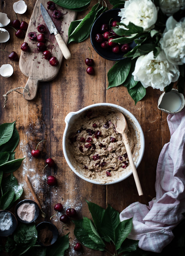 Cherry Oat Muffins + Brown Butter Vanilla Bean Glaze