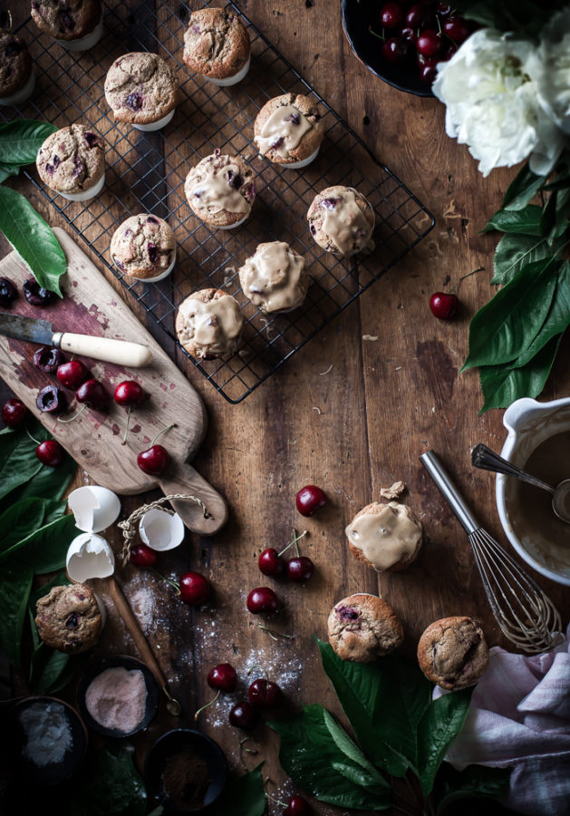 Cherry Oat Muffins + Brown Butter Vanilla Bean Glaze