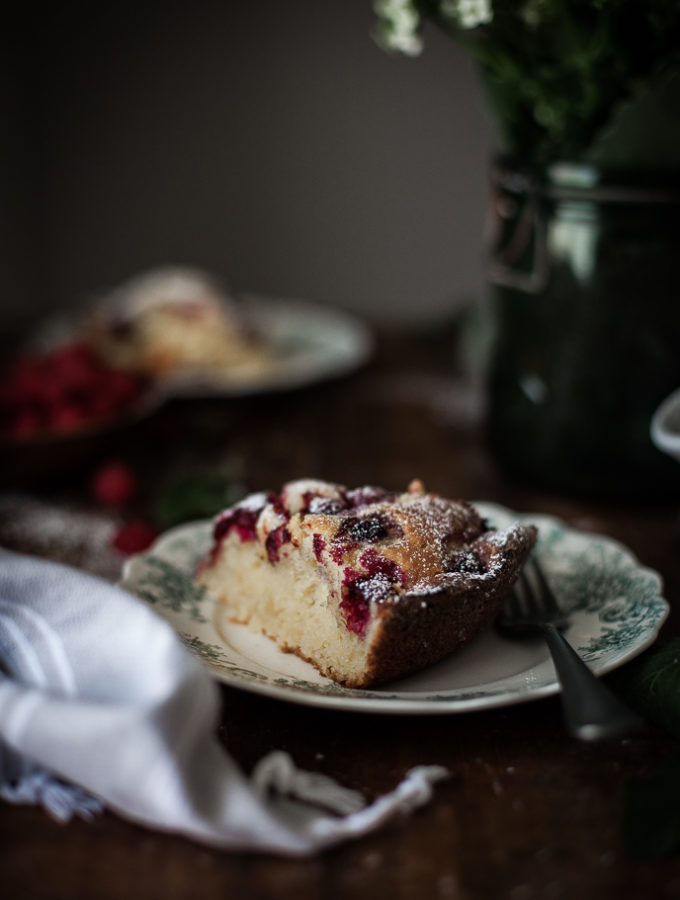 Raspberry Ricotta Almond Cake