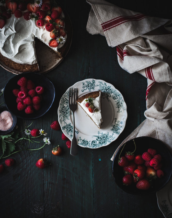 Browned Butter Buckwheat Cake + Vanilla Cream & Berries