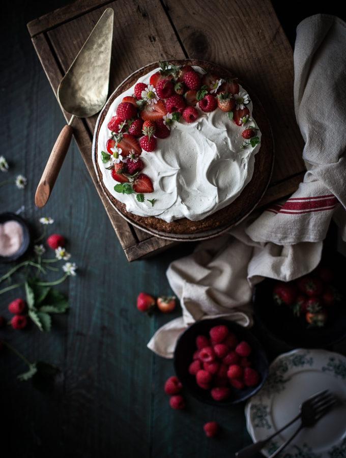 Browned Butter Buckwheat Cake + Vanilla Cream & Berries