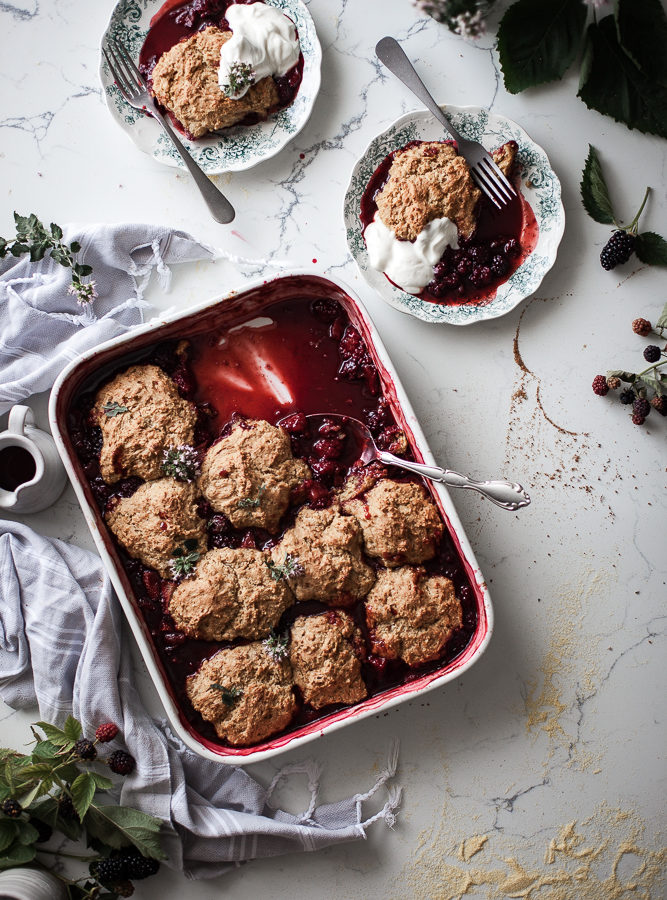Blackberry Strawberry Cornmeal Cobbler