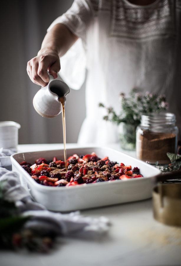 Blackberry Strawberry Cornmeal Cobbler
