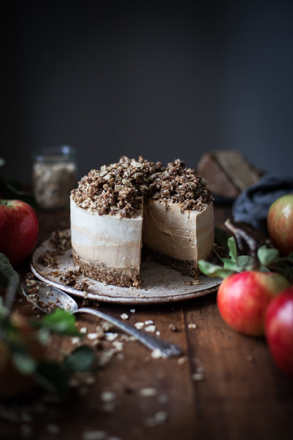 Pumpkin Cider Cheesecake + Oat Pecan Cookie Crumble