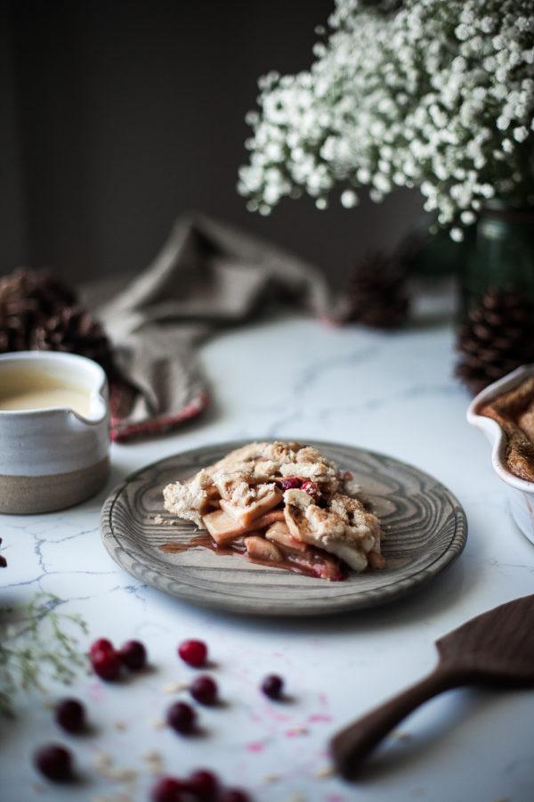 Spiced Cranberry Apple Pie + Oat Crust & Orange Custard Sauce